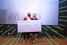 Software developer Celeste Maksim won the Flight Night pitch competition.