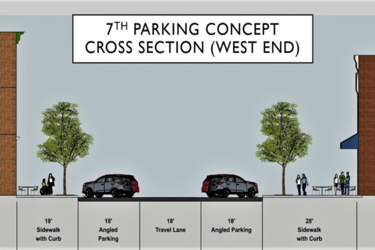 One design concept proposes angled parking and expanded sidwalks.