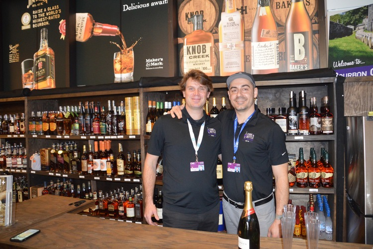 "Seen at the CVG location opening are Cork ""N Bottle Bourbon Specialist and Spirits Manager Eric Bollmann with company General Manager Vince Vassil."