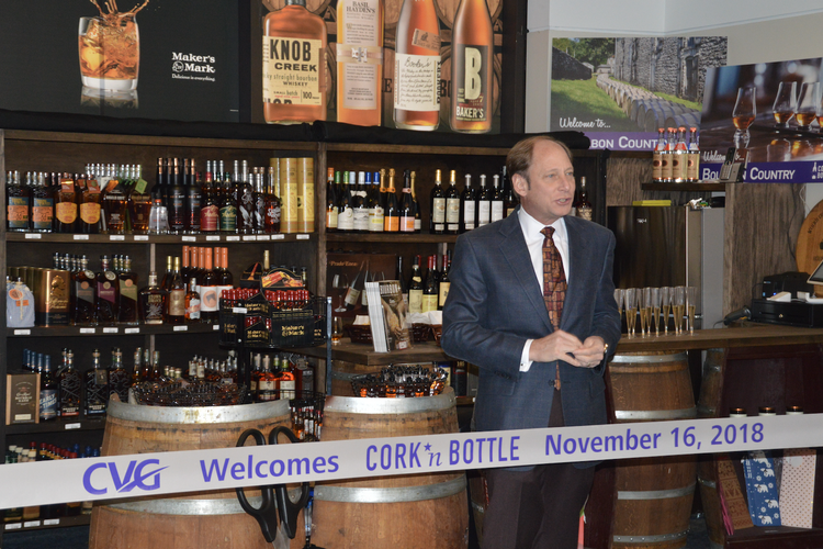 Cork 'N Bottle's Tom Neyer at the ribbon-cutting for the store's CVG location