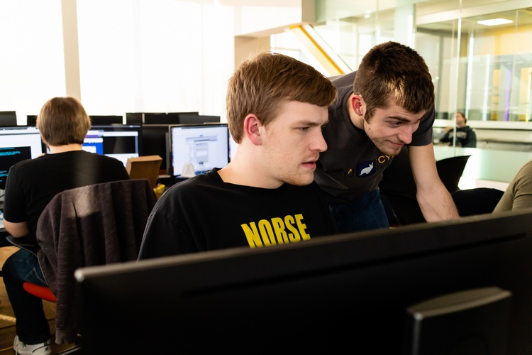 Cyber Defense team members Benjamin Pohlabeln and Bradley Hatting
