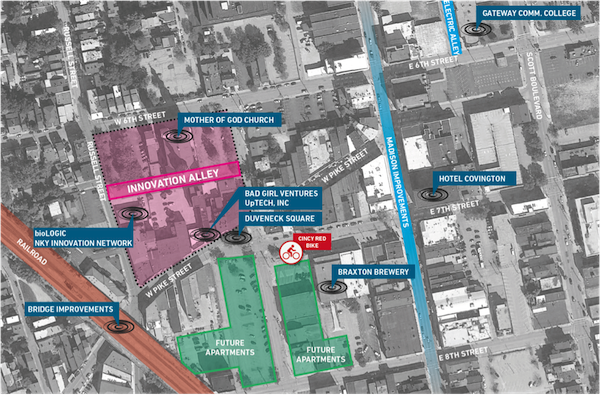 Concept sketch of Innovation Alley in relation to Covington's other startup organizations