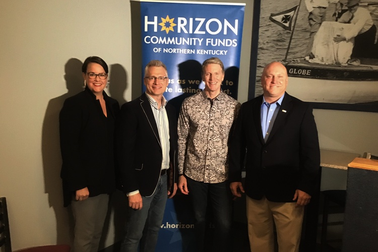 From left, Nancy Grayson of Horizon Community Funds, Kentucky's Edge festival co-founders Bill Donabedian and Kevin Canafax, and NKY Chamber President and CEO Brent Cooper